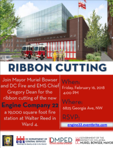 Join Mayor Bowser for the ribbon cutting ceremony of Engine 22 in Ward 4!! @ Engine 22 Firehouse | Washington | District of Columbia | United States
