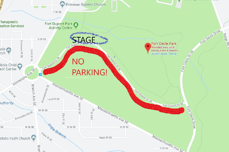 Parking map - Fort Dupont Summer Concert Series