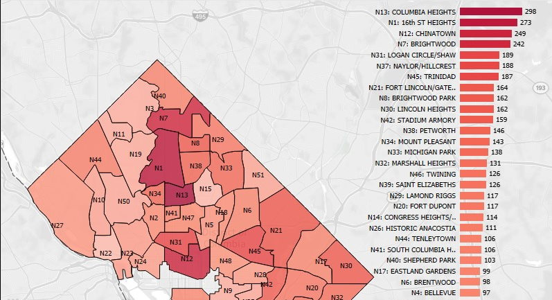 DC COVID-19 Incidences by Neighborhood map